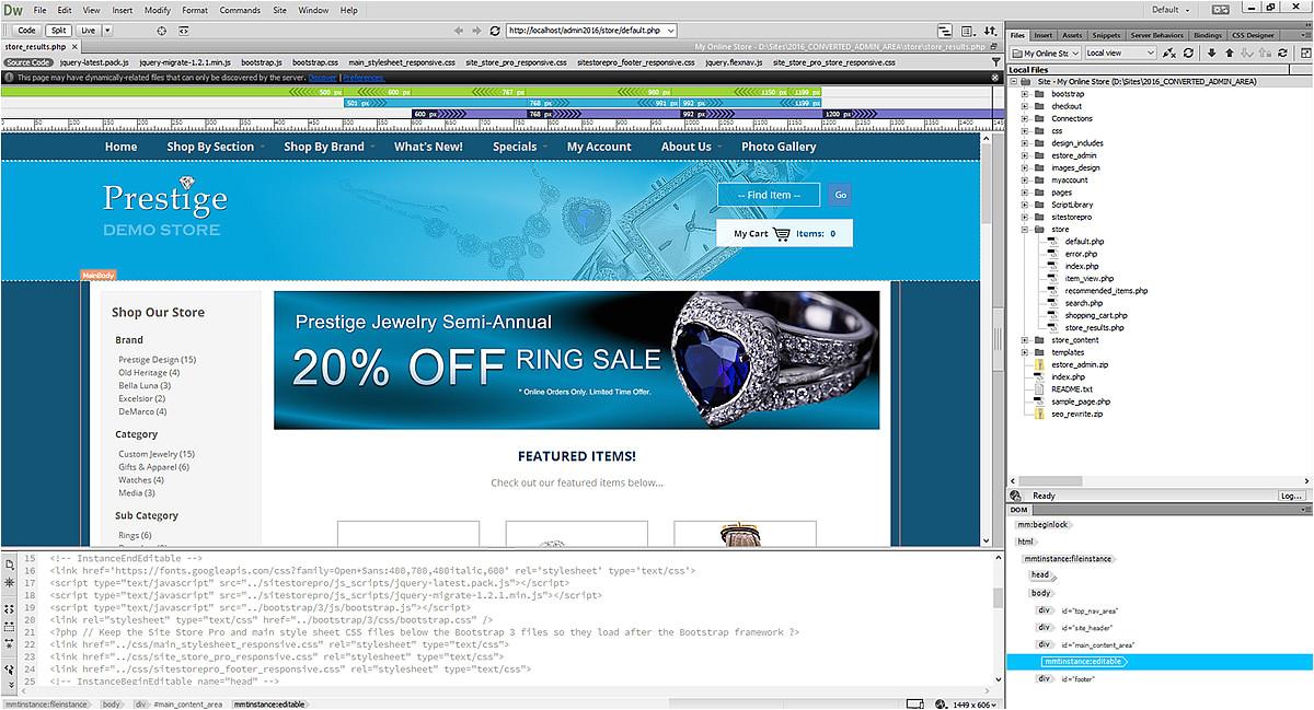 Dreamweaver Shopping Cart Templates Dreamweaver Shopping Cart Site Store Pro