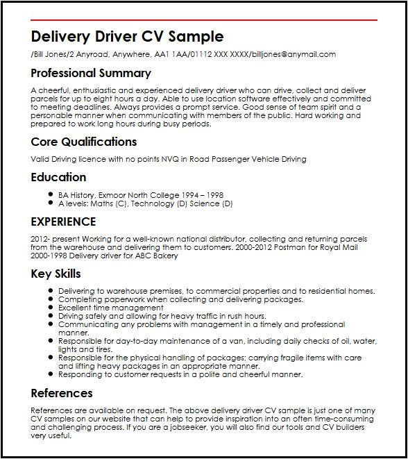 Drivers Cv Template Delivery Driver Cv Sample Myperfectcv