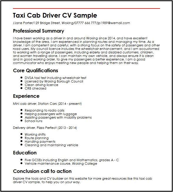 taxi cab driver cv sample