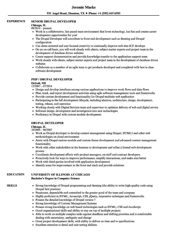 Drupal Developer Resume Sample Drupal Developer Resume Samples Velvet Jobs