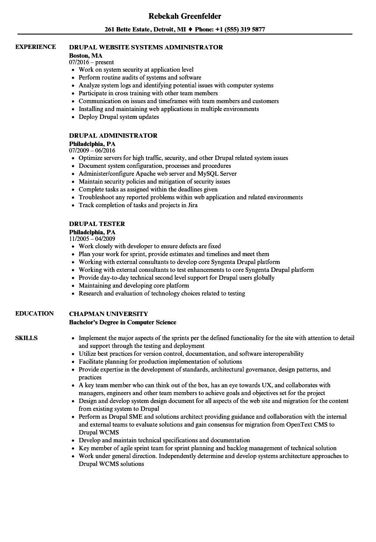 Drupal Developer Resume Sample Drupal Resume Samples Velvet Jobs