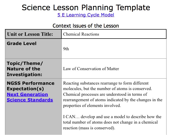 5e lesson plan template ngss