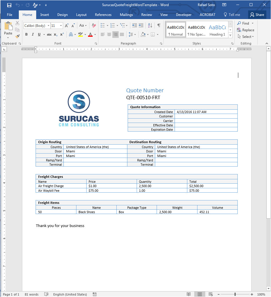 Dynamics Crm Quote Template Creating Freight Quote Templates In Word Surucas