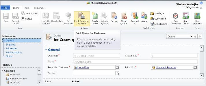 dynamics crm 2011 mail merge templates showing quote information