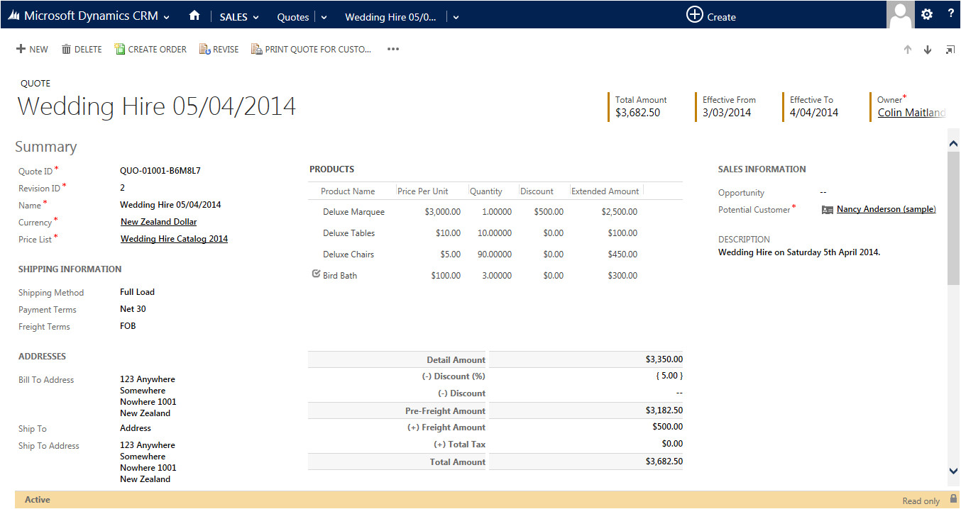 using the print quote for customer functionality and quote for customer template in microsoft dynamics crm 2013