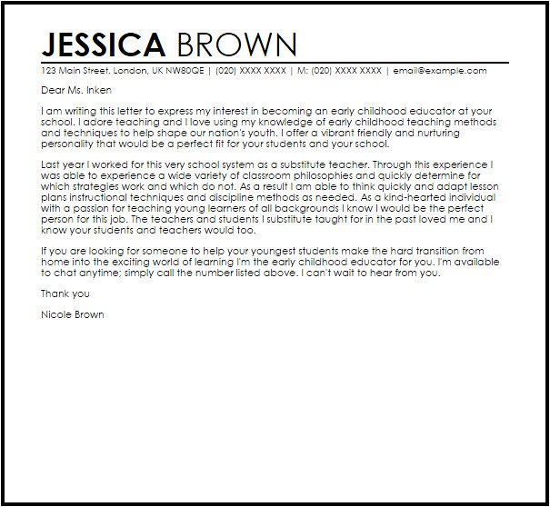 Early Childhood Education Cover Letter Examples Early Childhood Educator Cover Letter Sample Cover