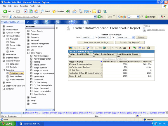 Earned Value Report Template Project Earned Value Report Tracker Data Warehouse