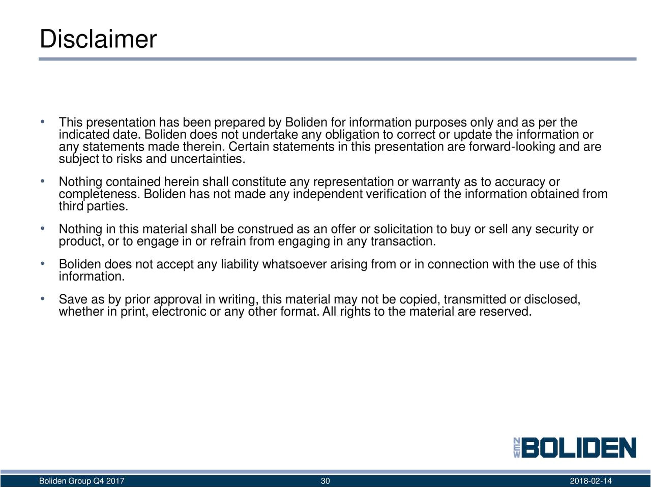 Earnings Disclaimer Template Boliden Ab Adr 2017 Q4 Results Earnings Call Slides