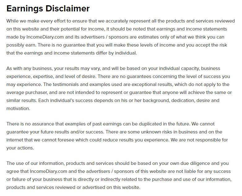 earnings disclaimer