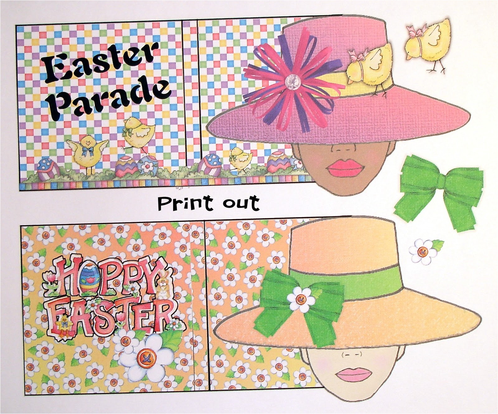 Easter Bonnets Templates Lucine 39 S Swing Card and Easter Bonnet Girls