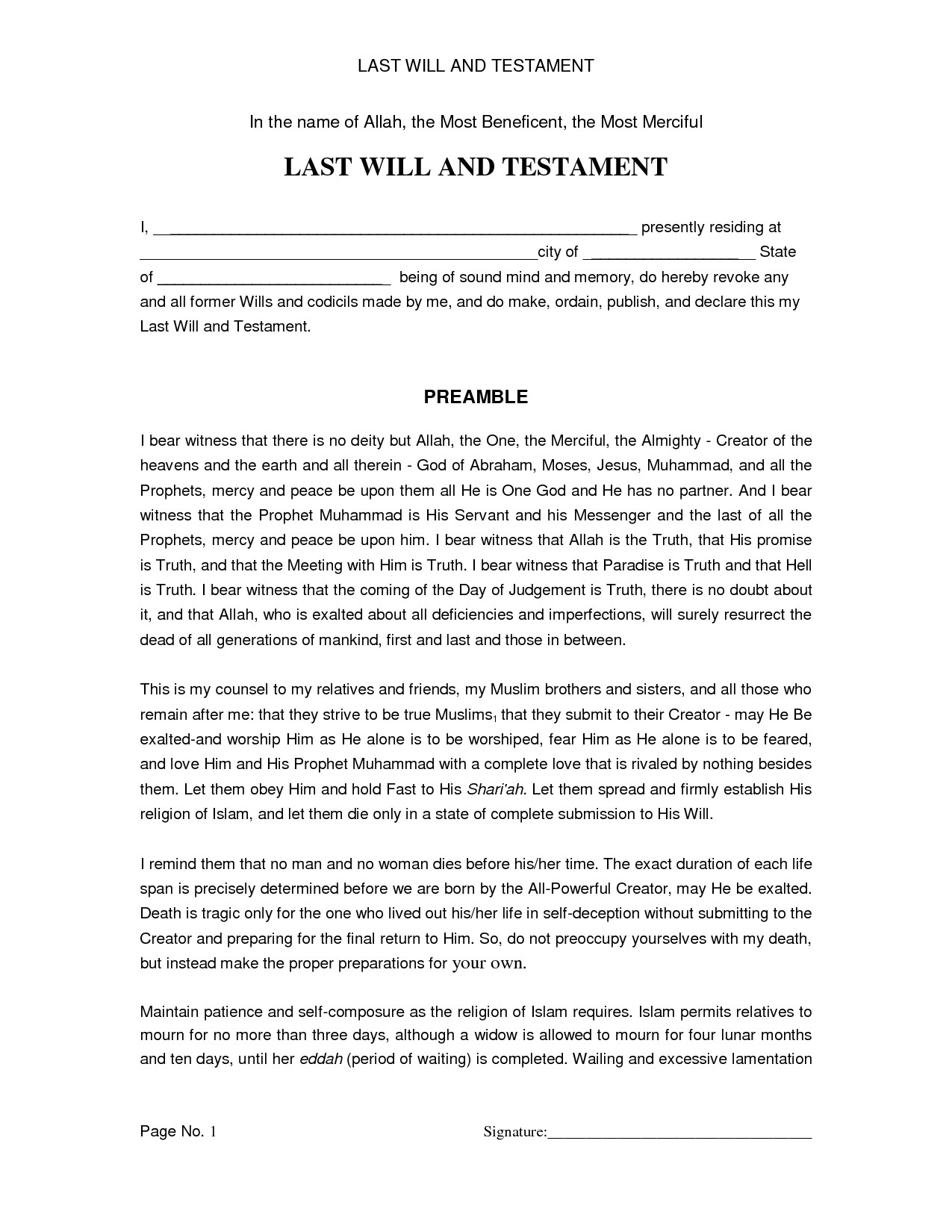 Easy Last Will and Testament Free Template Simple Last Will and Testament Sample Free Printable
