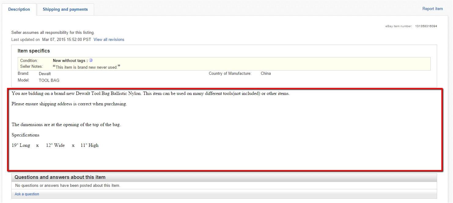 custom ebay listing template