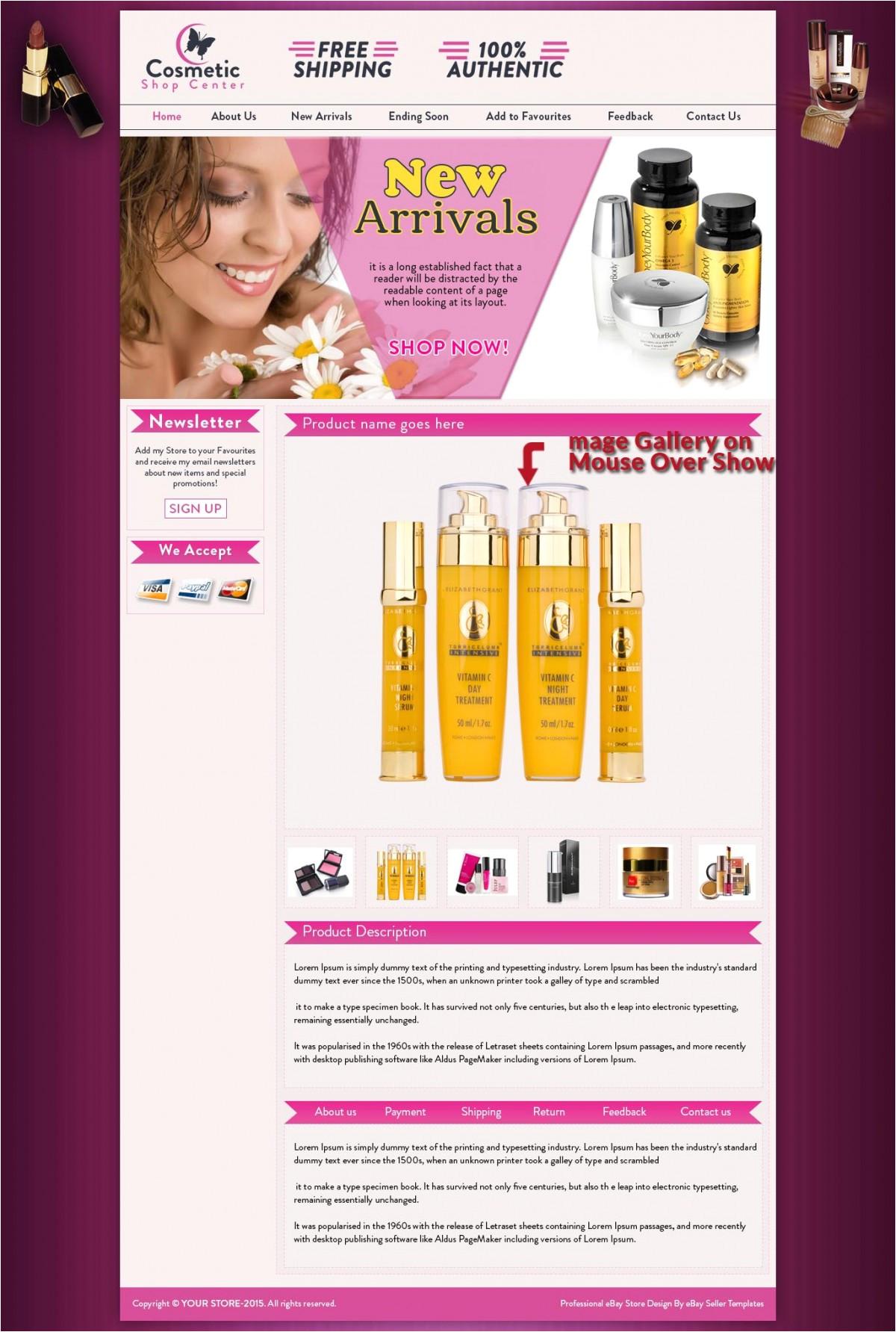Ebay Product Description Template Pink Body Spa Ebay Store Design Template for 29 99 Ebay