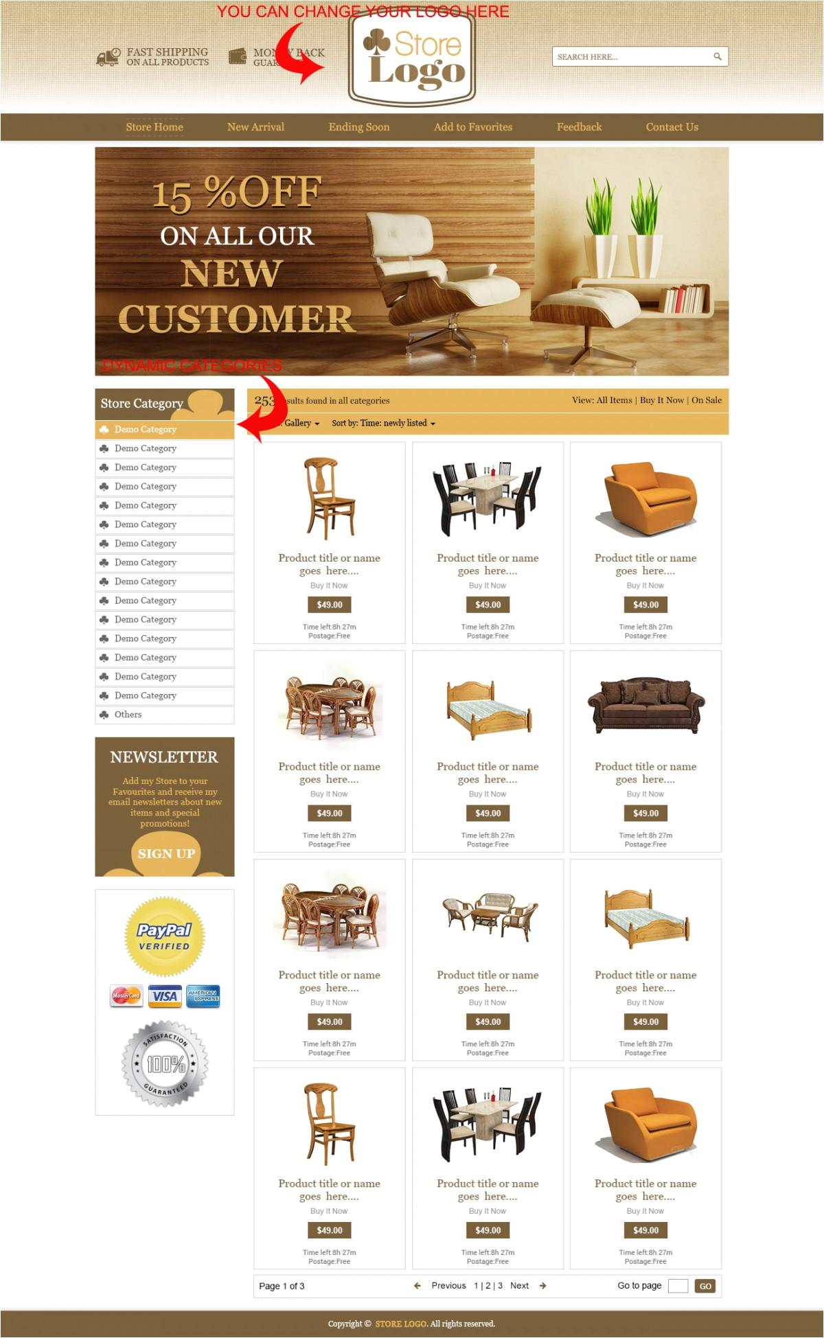 wooden theme ebay product description template ebay store listing template design