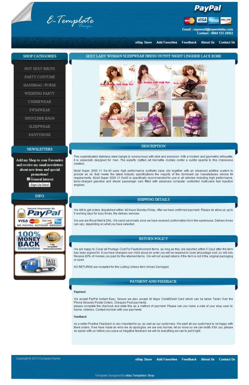 auction listing template ebay store design