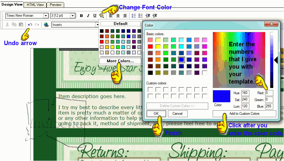 how to use ebay listing template with
