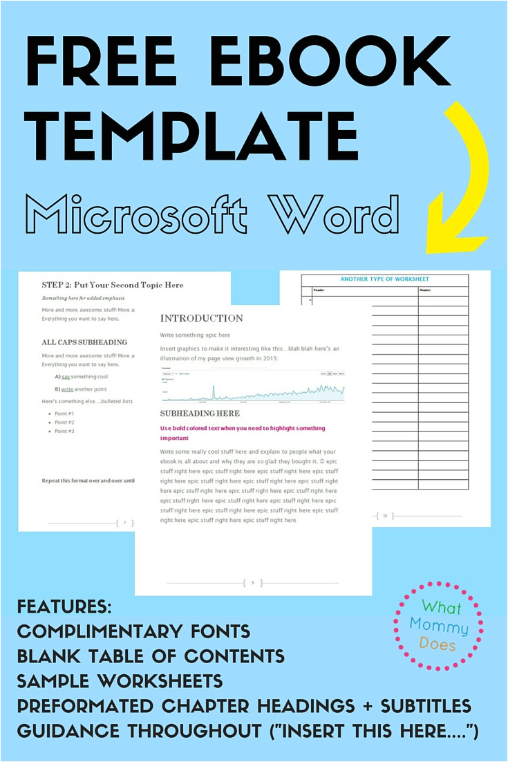 free ebook template preformatted word document