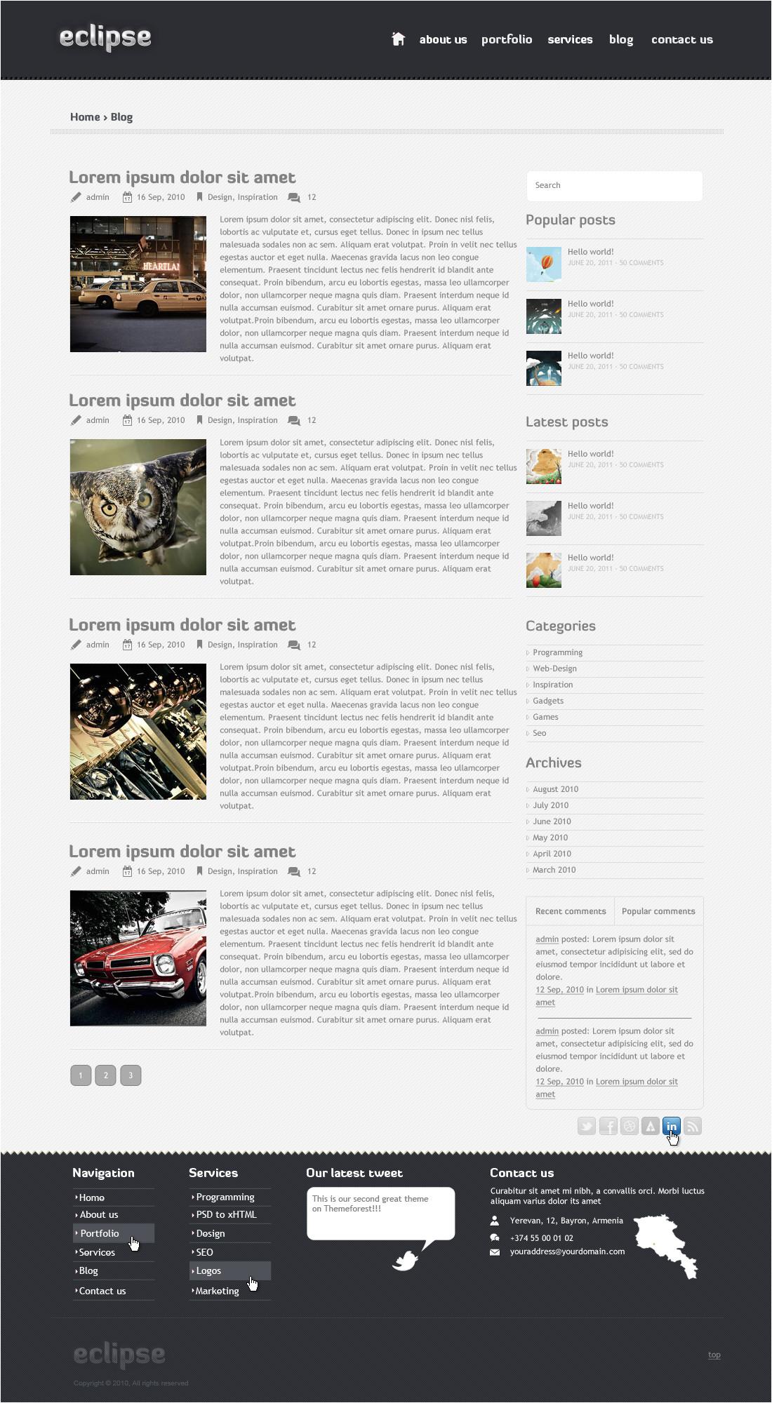 eclipse htmlcss portfolio template