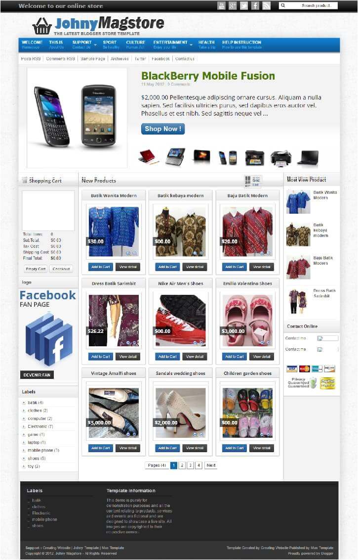 best free ecommerce blogger templates