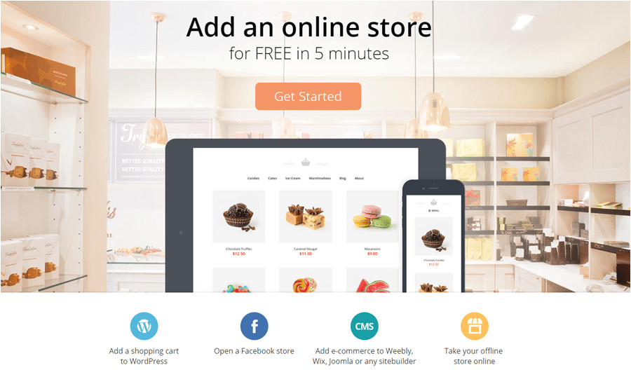 ecwid online store adapts template