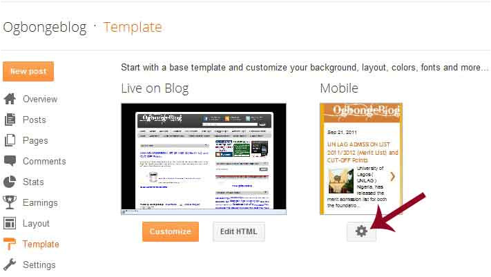 how to change bloggers mobile template