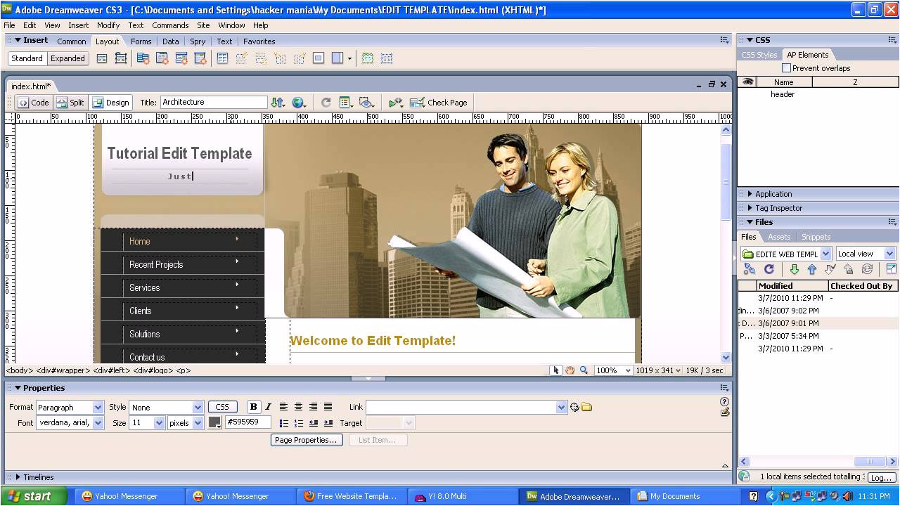 Edit Dreamweaver Template Edit Web Template with Adobe Dreamweaver Cs3 Youtube