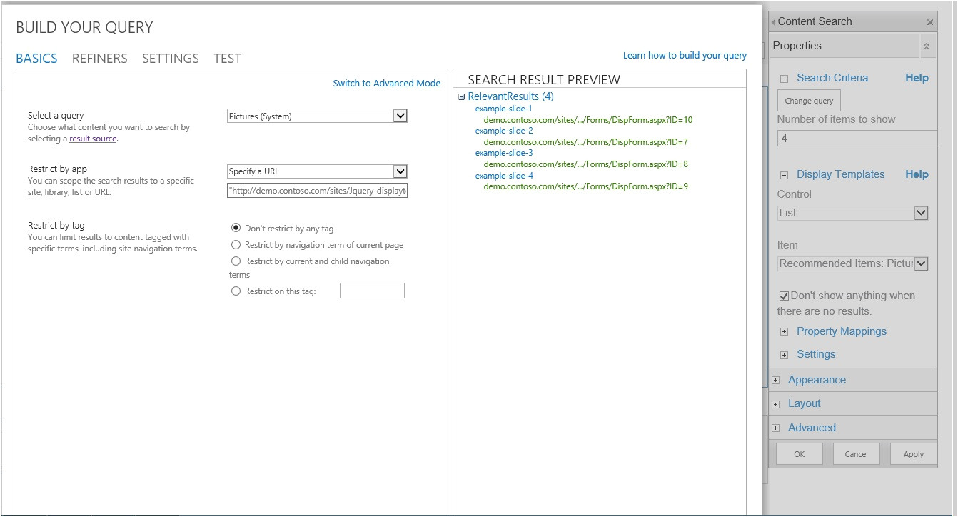 sharepoint 2013 customize display template for content by search web part cswp part 2