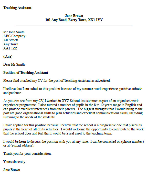 Educational assistant Cover Letter Examples Teaching assistant Cover Letter Example Icover org Uk