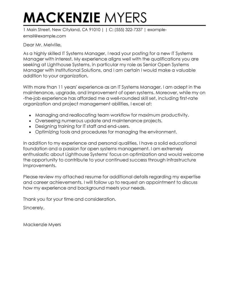 Eg Of Cover Letter Best It Cover Letter Examples Livecareer
