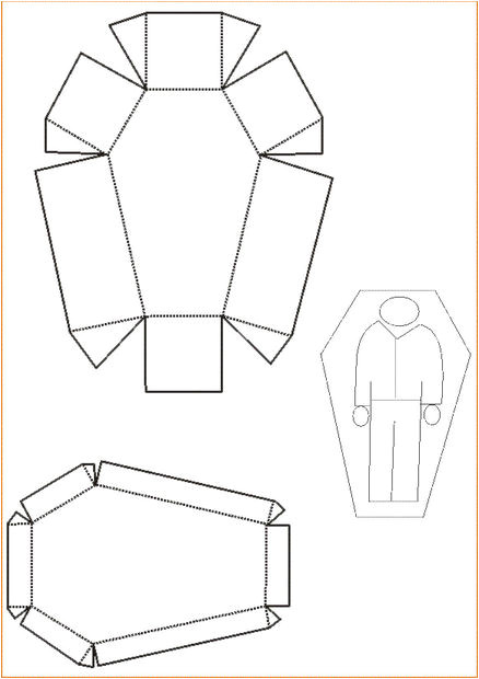 Egyptian Sarcophagus Template Small Papercraft Coffin and Headstone Desk ornament 4 Steps