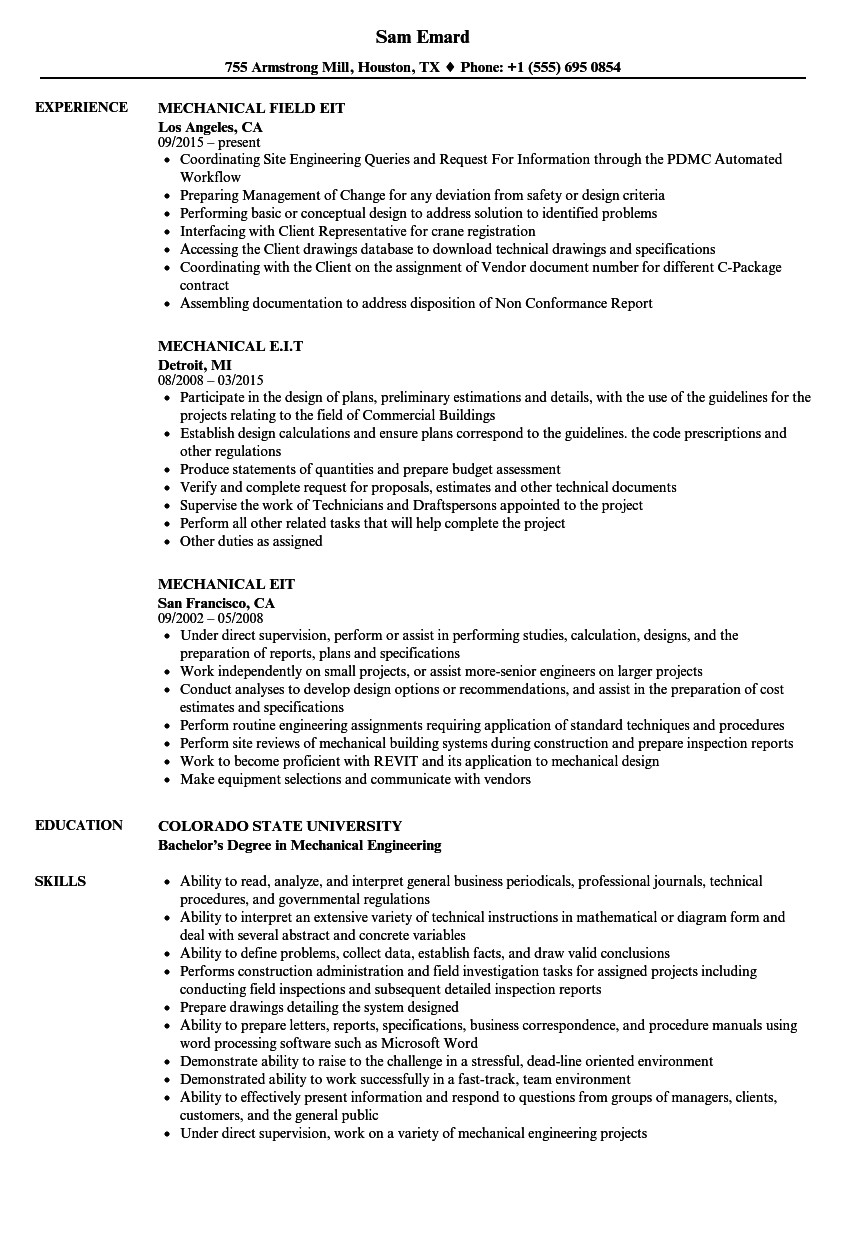 mechanical e i t resume sample