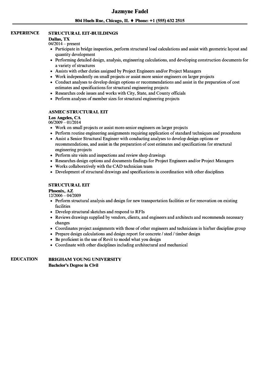 Eit Resume Sample Structural Eit Resume Samples Velvet Jobs