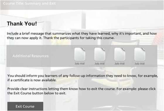 course exit slide template