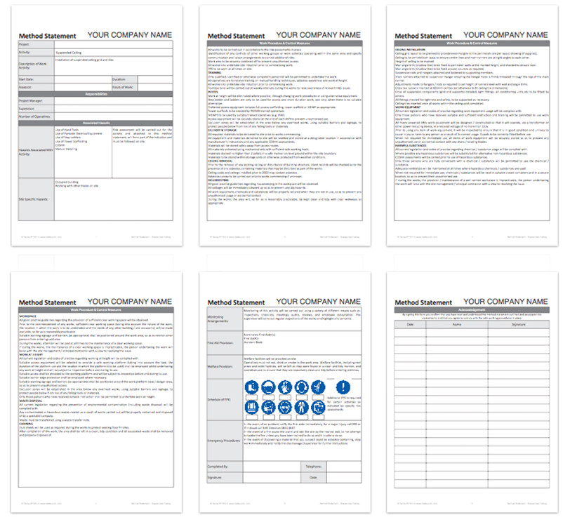 method statement template for construction