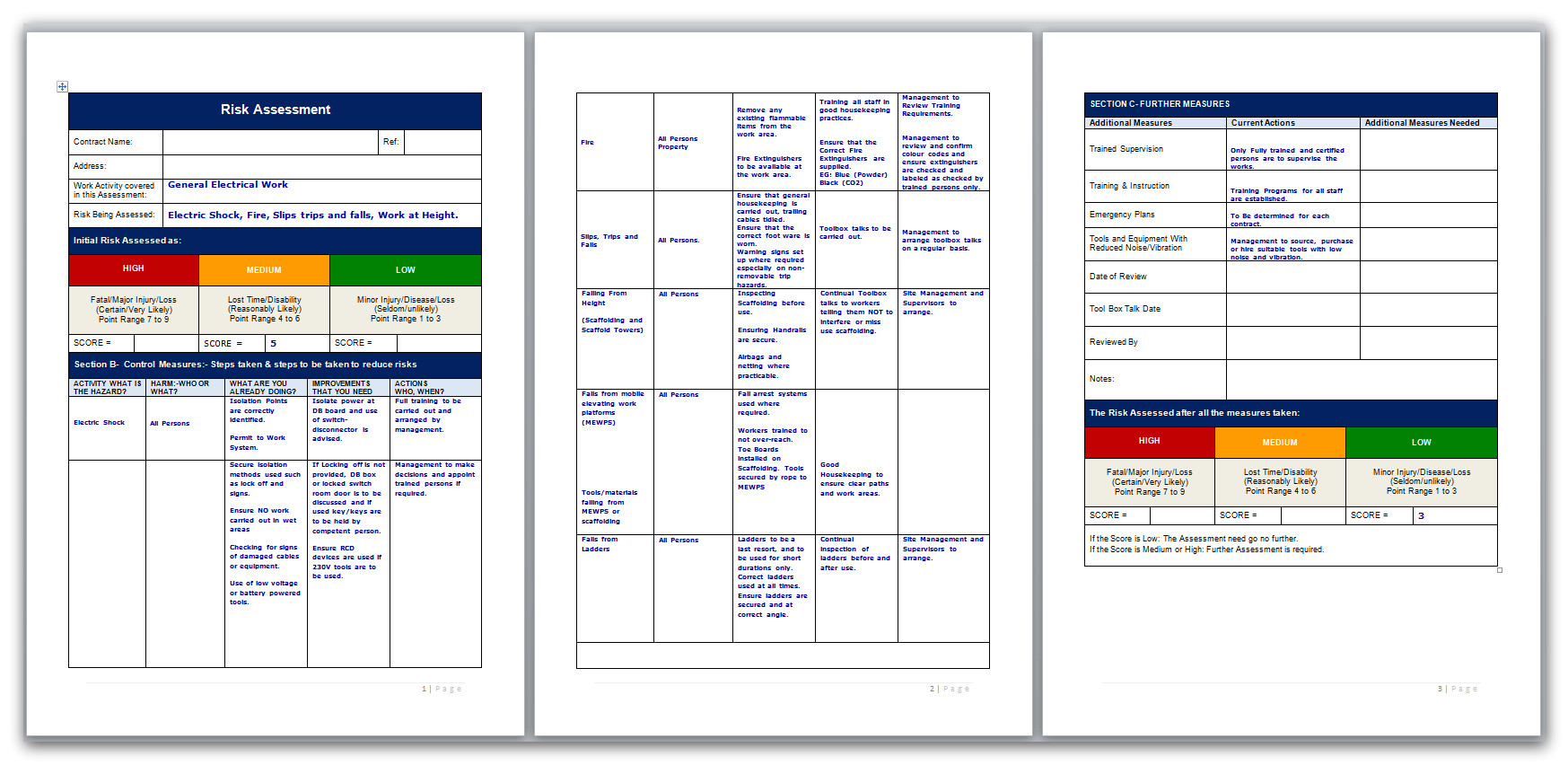 Electrical Installation Method Statement Template Free Risk assessment for General Electrical Work