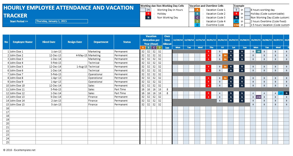 employee vacation planner template excel 747