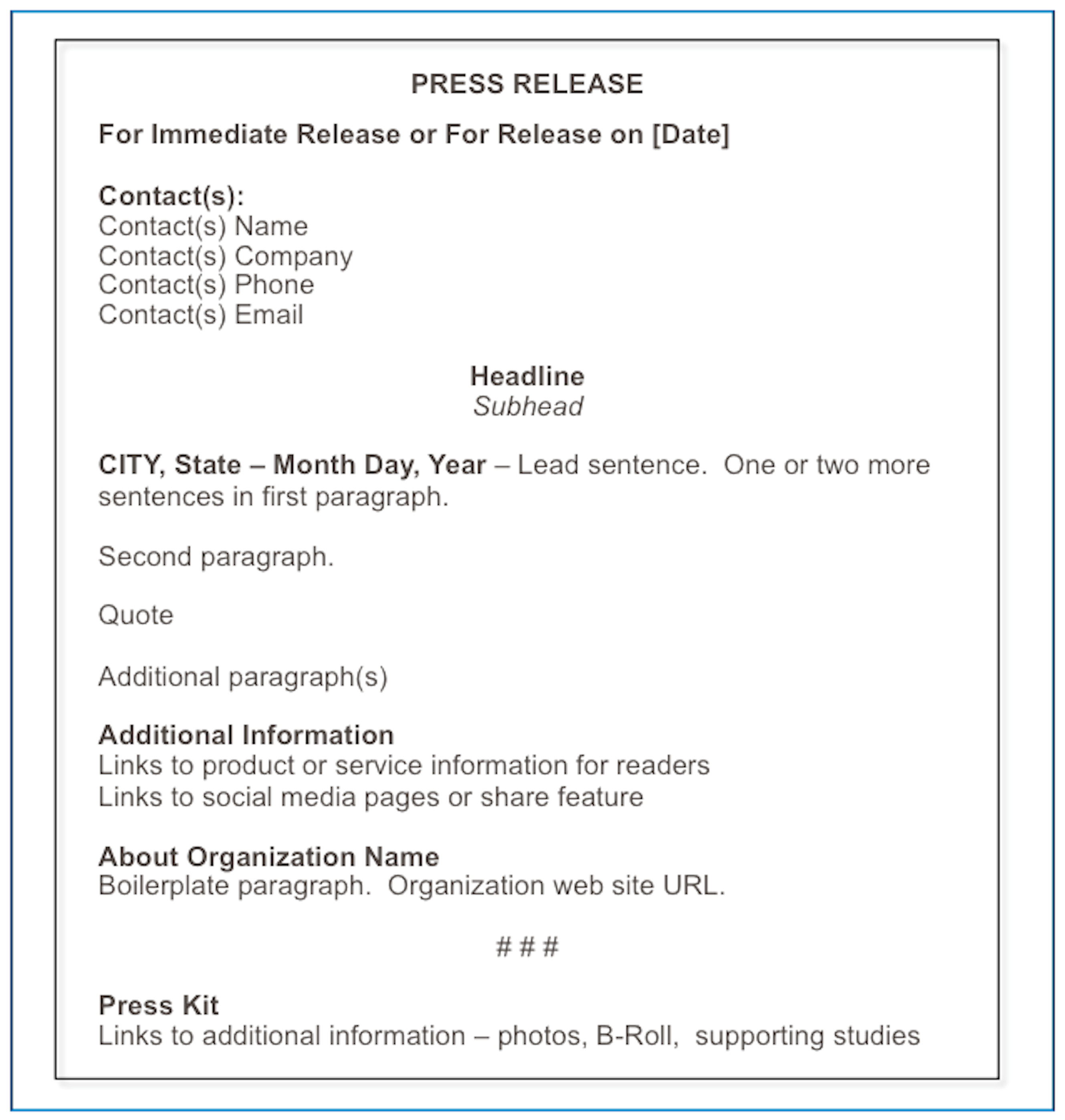 Email Template Boilerplate How to format A Press Release Matthews On Marketing