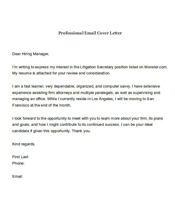 email to accompany resume and cover letter