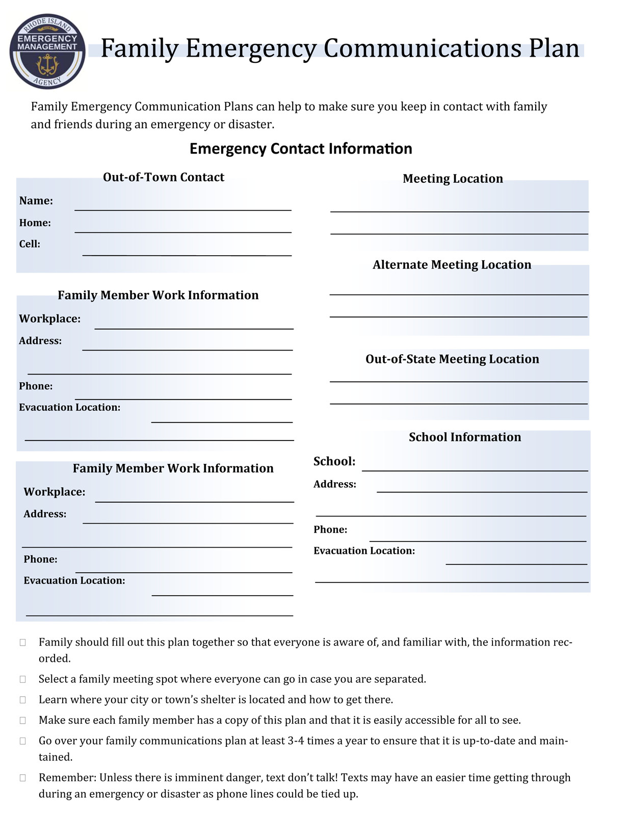 Emergency Communications Plan Template Prepare Emergency Management Agency
