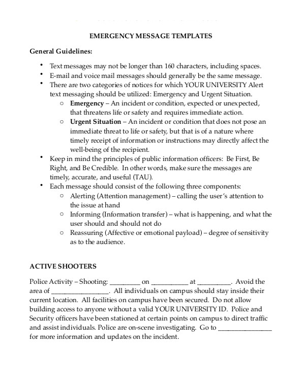 Emergency Message Templates Message Template 15 Free Word Pdf Documents Download