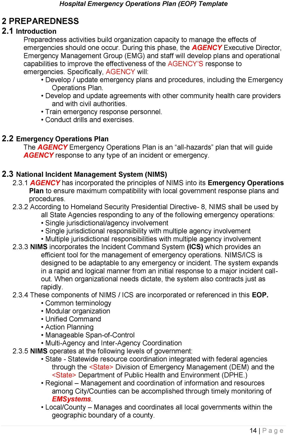 12981916 agency name hospital emergency operations plan eop template
