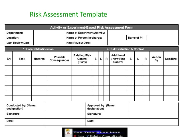 risk assessment hazard identification template
