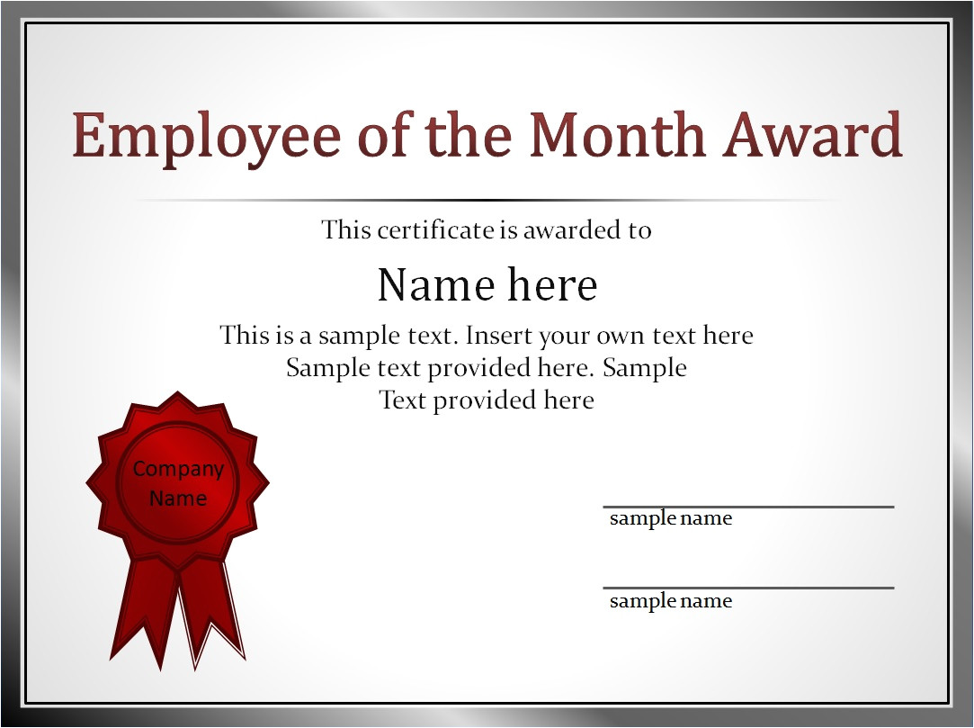 impressive employee of the month award and certificate template with editable name and silver frame list and red medal brooch