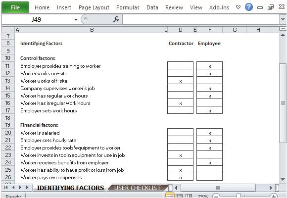Employee or Independent Contractor Checklist Template Employee or Independent Contractor Checklist for Excel