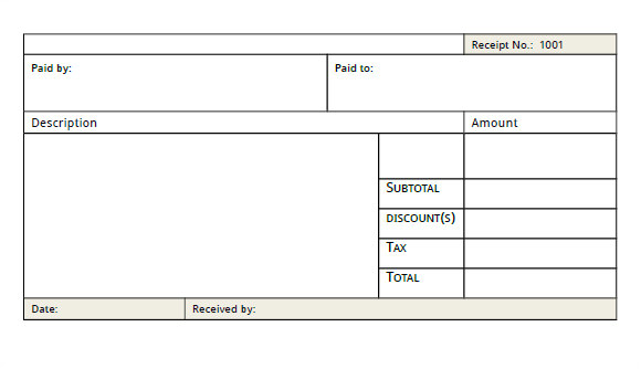 sample blank receipt
