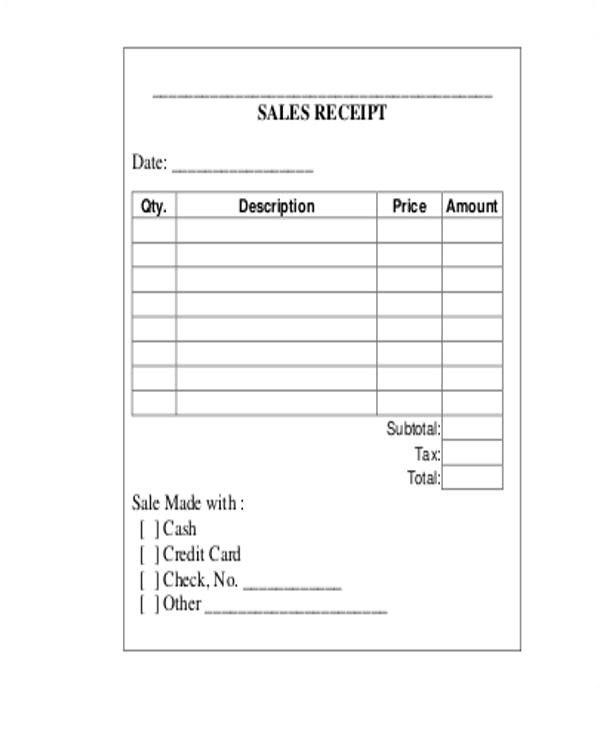 receipts template