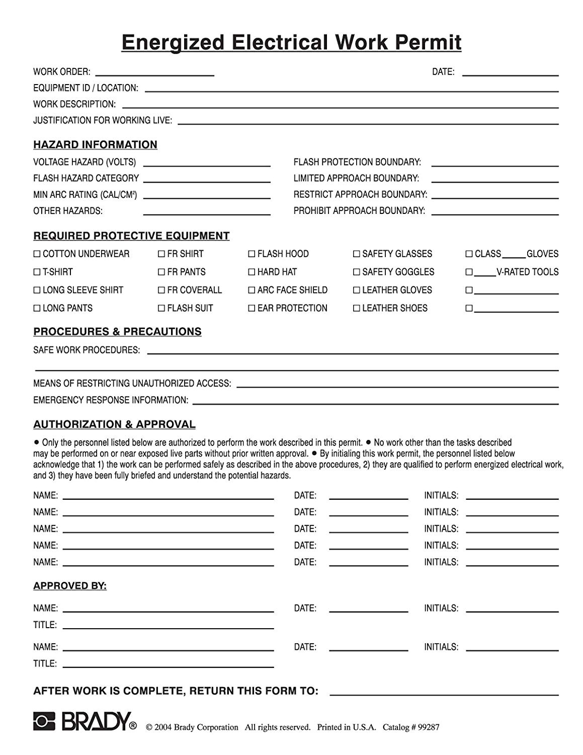 nfpa 70e energized electrical work permit form