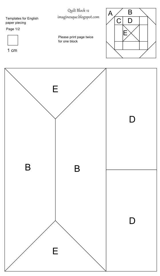 quilt block 12 pattern and template