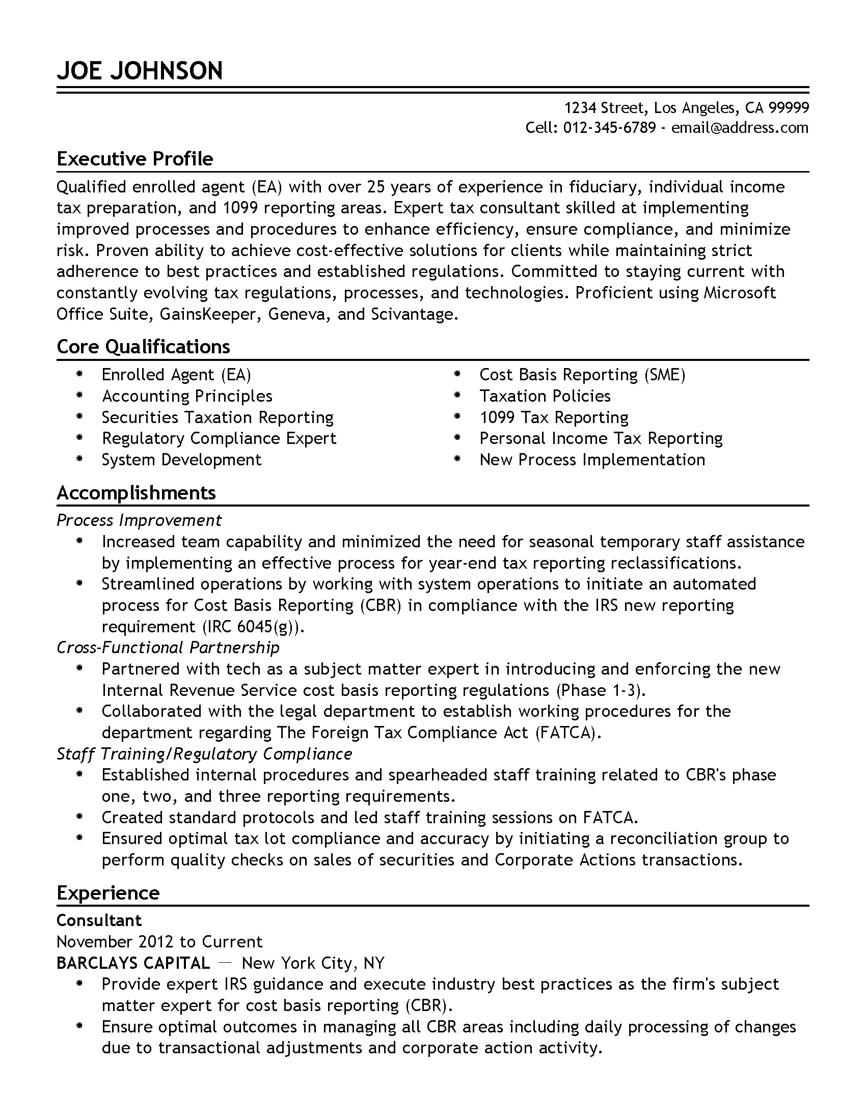Enrolled Agent Resume Sample Professional Enrolled Agent Templates to Showcase Your