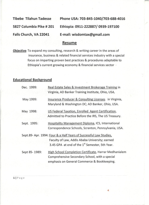 Enrolled Agent Resume Sample Tebebe1 Updated Resume Pdf